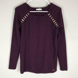 Calvin Klein jeweled sweater purple rib knit